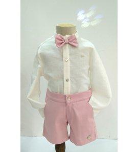 Conjunto camisa lino beige/pantalón corto rosa +pajarita