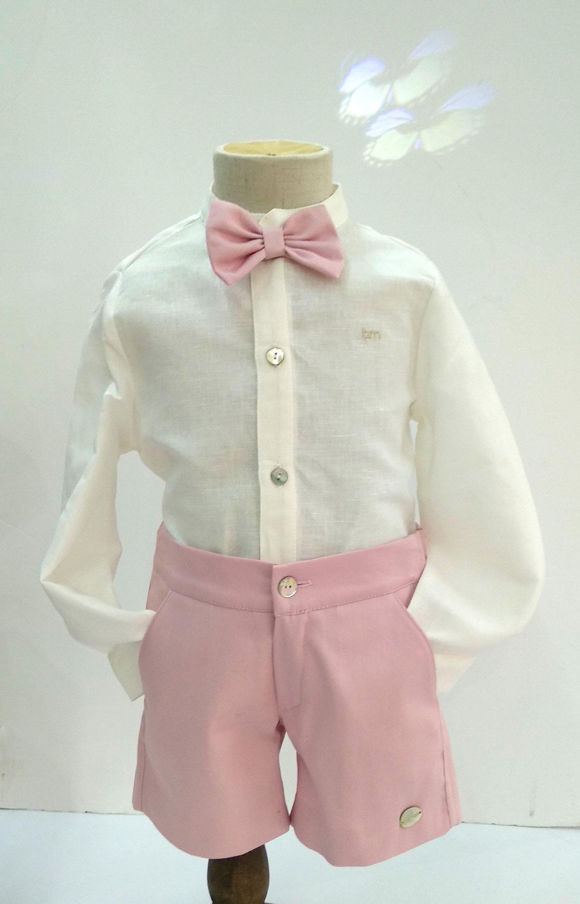 mejor selección 067ab f9b06 Conjunto camisa lino beige/pantalón corto rosa +pajarita - Arca Boutique  Infantil-Juvenil