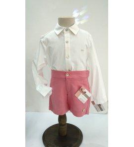 Pantalón niño corto sarga rosa