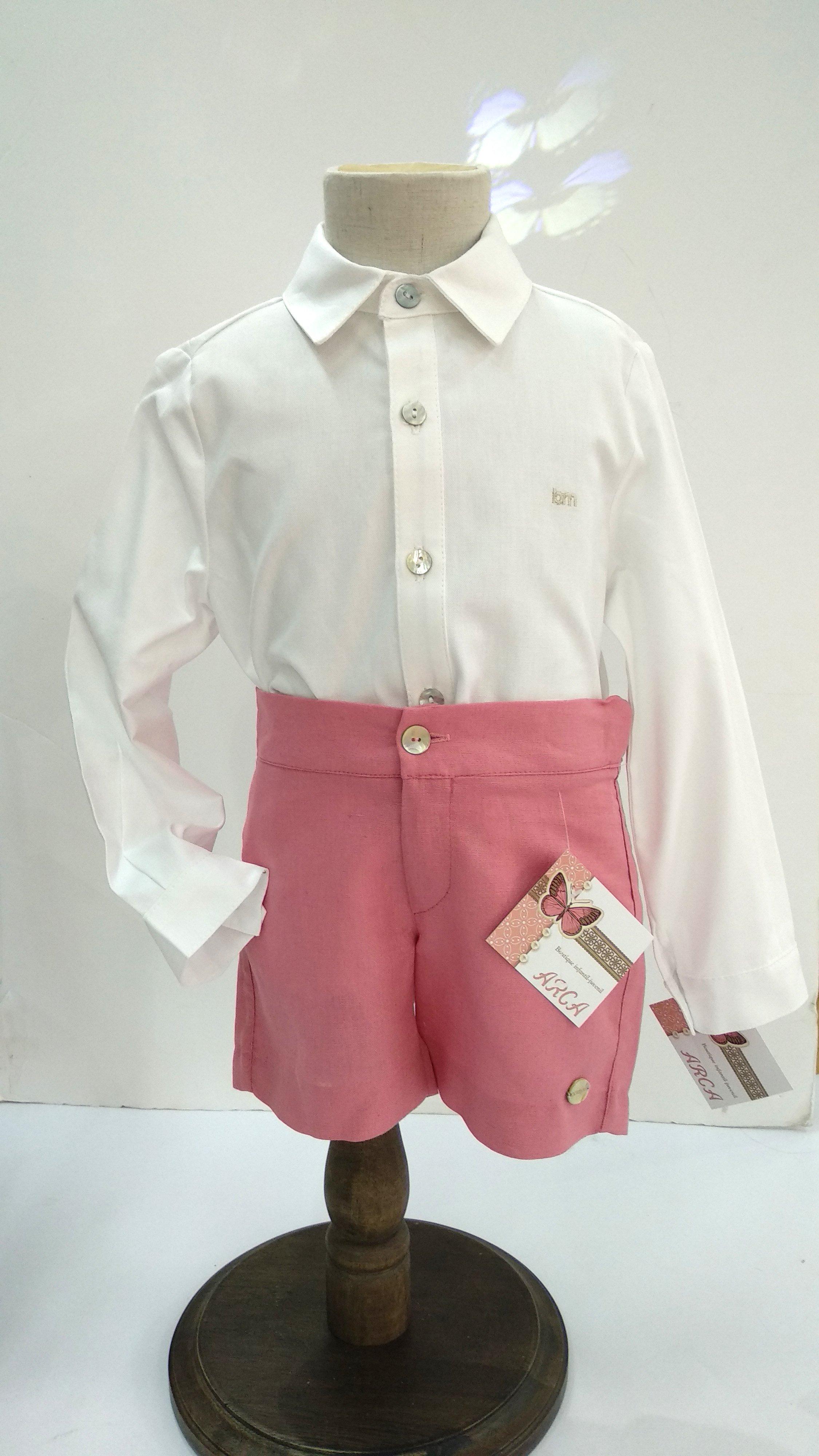 13de6feb6 Pantalón niño corto sarga rosa - Arca Boutique Infantil-Juvenil