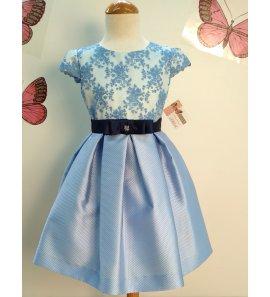 Vestido cuerpo encaje azul tinta