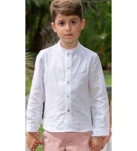 Camisa lino blanca c/mao detalle BM