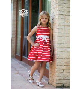 Vestido rayas rojo/blanco lazo