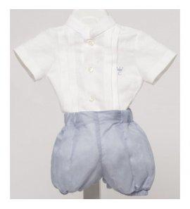 Conjunto niño bombacho lino azul azafata