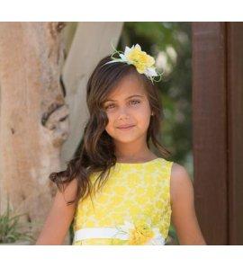 Diadema flor adamascada amarilla