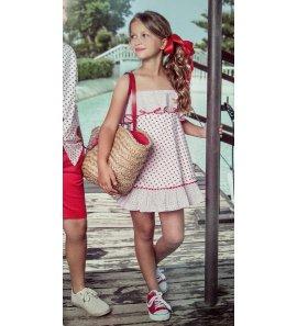 Vestido estrellitas y lunares blanco/rojo