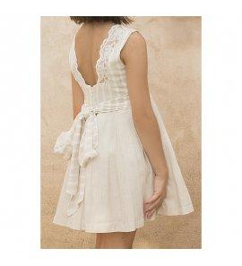 Vestido hilo rayado espalda puntilla