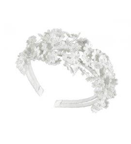Diadema flores guipur blanco