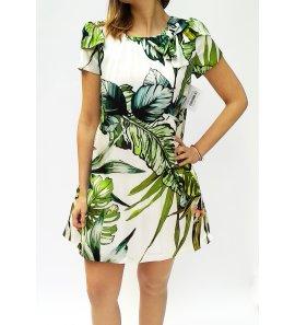 Vestido seda estampado hojas