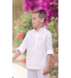 Camisa niño c/mao lino blanca m/l