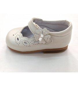 Zapato piel nacar beige