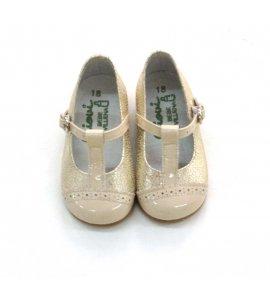 Zapato piel charol oro