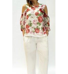 Conjunto niña pantalón blanco top floral