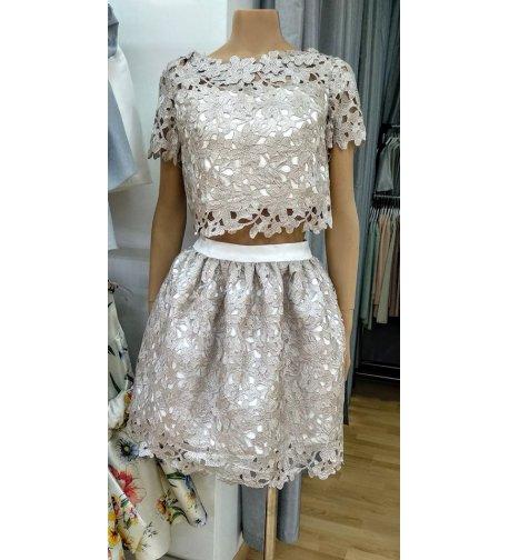 Conjunto top y falda batista perforada visón