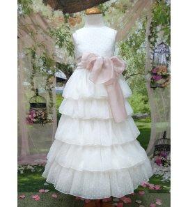 Vestido comunión plumeti falda volantes
