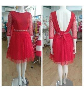 Vestido m/f plumetti rojo