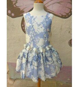 Vestido t.bajo flores organza azul azafata