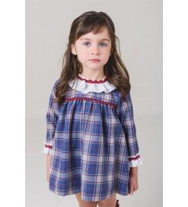 Vestido infantil viella m/l cuadros azul