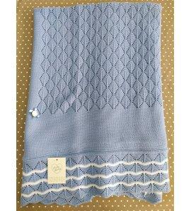 Arrullo lana azul cristal/blanco