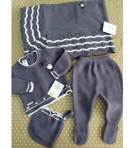 Conjunto bebé 3p lana azul oscuro/blanco