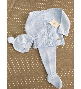 Conjunto 3p lana bebé CELESTE