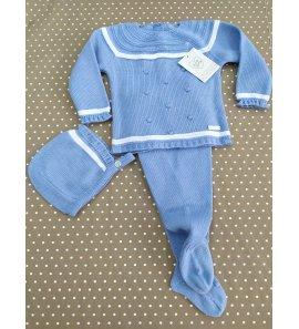 Conjunto 3p lana bebé AZUL CRISTAL/BLANCO