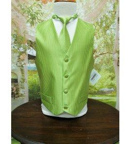 Chaleco y corbata verde rayas