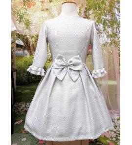 Vestido brocado gris m/francesa
