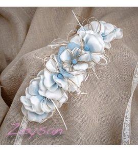Cinta flores azul celeste