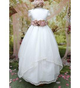 Vestido falda pañuelos organza fajín malva flores