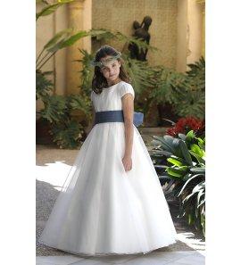 Vestido falda capa cuerpo plumetti lazo azul