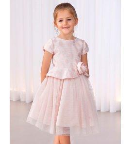 Vestido jacquard topos brillo rosa