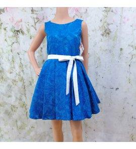Vestido evasé brocado azulón